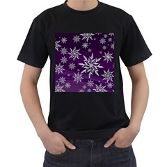 Christmas Star Ice Crystal Purple Background Men s T Shirt (black) (two Sided)