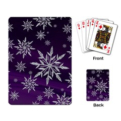 Christmas Star Ice Crystal Purple Background Playing Card