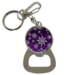 Christmas Star Ice Crystal Purple Background Button Necklaces by BangZart