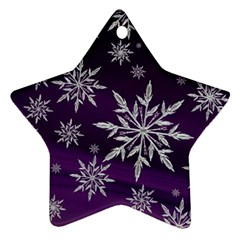 Christmas Star Ice Crystal Purple Background Star Ornament (two Sides)