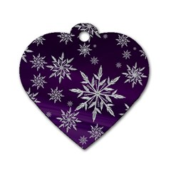 Christmas Star Ice Crystal Purple Background Dog Tag Heart (two Sides)