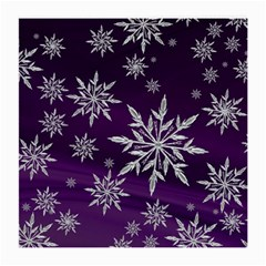 Christmas Star Ice Crystal Purple Background Medium Glasses Cloth (2 Side)