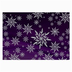 Christmas Star Ice Crystal Purple Background Large Glasses Cloth by BangZart