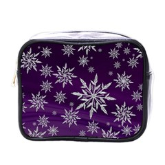 Christmas Star Ice Crystal Purple Background Mini Toiletries Bags by BangZart