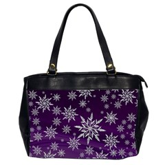 Christmas Star Ice Crystal Purple Background Office Handbags (2 Sides)  by BangZart