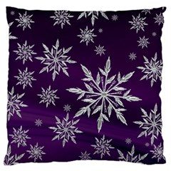 Christmas Star Ice Crystal Purple Background Large Cushion Case (two Sides) by BangZart