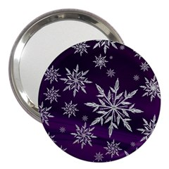 Christmas Star Ice Crystal Purple Background 3  Handbag Mirrors