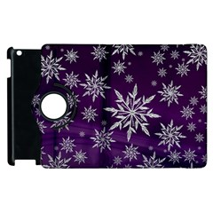 Christmas Star Ice Crystal Purple Background Apple Ipad 2 Flip 360 Case by BangZart