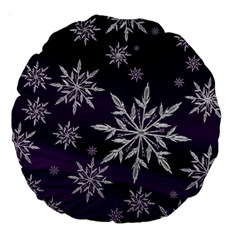 Christmas Star Ice Crystal Purple Background Large 18  Premium Round Cushions by BangZart