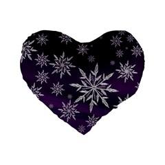 Christmas Star Ice Crystal Purple Background Standard 16  Premium Heart Shape Cushions