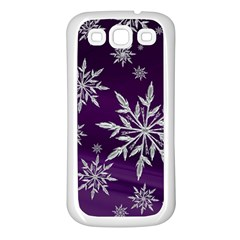 Christmas Star Ice Crystal Purple Background Samsung Galaxy S3 Back Case (white)