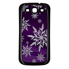 Christmas Star Ice Crystal Purple Background Samsung Galaxy S3 Back Case (black)