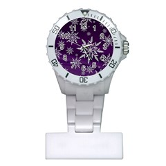 Christmas Star Ice Crystal Purple Background Plastic Nurses Watch by BangZart