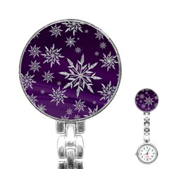 Christmas Star Ice Crystal Purple Background Stainless Steel Nurses Watch by BangZart