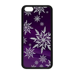Christmas Star Ice Crystal Purple Background Apple Iphone 5c Seamless Case (black)