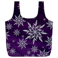 Christmas Star Ice Crystal Purple Background Full Print Recycle Bags (l)