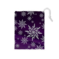 Christmas Star Ice Crystal Purple Background Drawstring Pouches (medium)