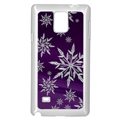 Christmas Star Ice Crystal Purple Background Samsung Galaxy Note 4 Case (white)