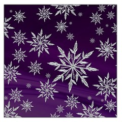 Christmas Star Ice Crystal Purple Background Large Satin Scarf (square)