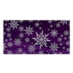 Christmas Star Ice Crystal Purple Background Satin Shawl Front