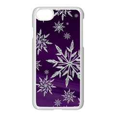 Christmas Star Ice Crystal Purple Background Apple Iphone 8 Seamless Case (white)