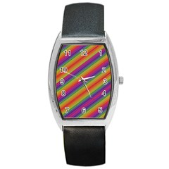 Spectrum Psychedelic Barrel Style Metal Watch