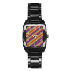 Spectrum Psychedelic Stainless Steel Barrel Watch