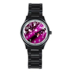 Background Christmas Star Advent Stainless Steel Round Watch by BangZart
