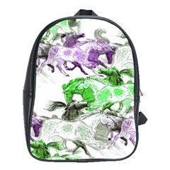 Horse Horses Animal World Green School Bag (xl) by BangZart