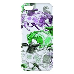 Horse Horses Animal World Green Apple Iphone 5 Premium Hardshell Case