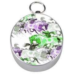 Horse Horses Animal World Green Silver Compasses