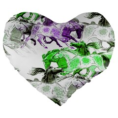 Horse Horses Animal World Green Large 19  Premium Flano Heart Shape Cushions by BangZart