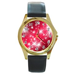 Christmas Star Advent Background Round Gold Metal Watch by BangZart