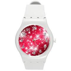 Christmas Star Advent Background Round Plastic Sport Watch (m) by BangZart