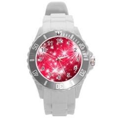 Christmas Star Advent Background Round Plastic Sport Watch (l)