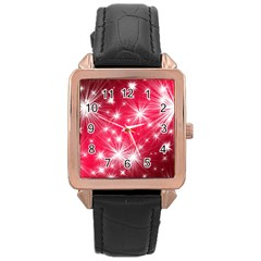 Christmas Star Advent Background Rose Gold Leather Watch  by BangZart