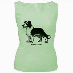 Border Collie Women s Green Tank Top by allthingseveryday