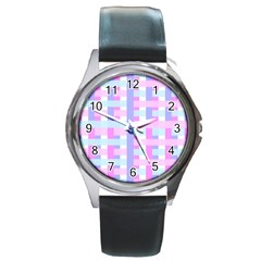 Gingham Nursery Baby Blue Pink Round Metal Watch