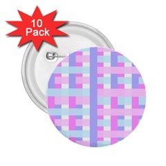 Gingham Nursery Baby Blue Pink 2 25  Buttons (10 Pack)