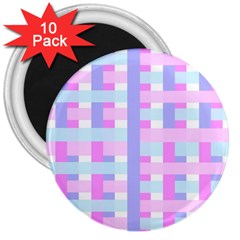 Gingham Nursery Baby Blue Pink 3  Magnets (10 Pack)