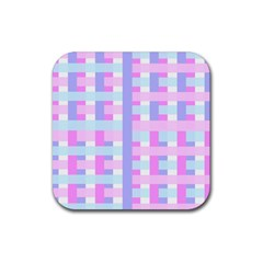 Gingham Nursery Baby Blue Pink Rubber Coaster (square)