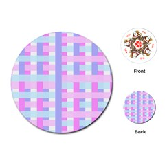 Gingham Nursery Baby Blue Pink Playing Cards (round)