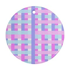 Gingham Nursery Baby Blue Pink Round Ornament (two Sides)