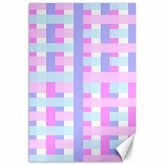 Gingham Nursery Baby Blue Pink Canvas 24  X 36