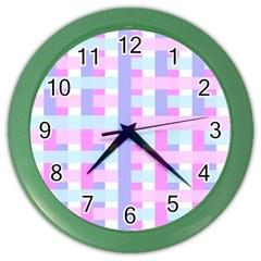 Gingham Nursery Baby Blue Pink Color Wall Clocks