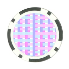 Gingham Nursery Baby Blue Pink Poker Chip Card Guard