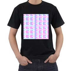 Gingham Nursery Baby Blue Pink Men s T Shirt (black)