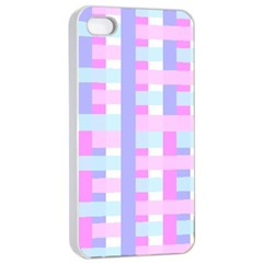 Gingham Nursery Baby Blue Pink Apple Iphone 4/4s Seamless Case (white)