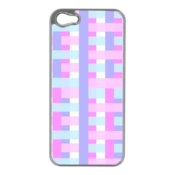 Gingham Nursery Baby Blue Pink Apple iPhone 5 Case (Silver)