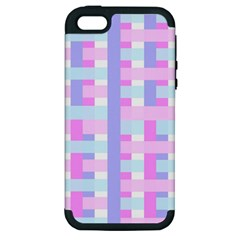 Gingham Nursery Baby Blue Pink Apple Iphone 5 Hardshell Case (pc+silicone)
